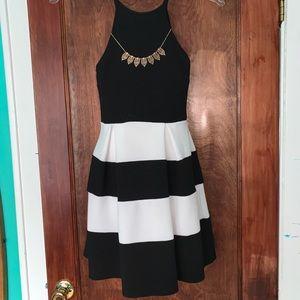 Soprano black and white striped dress